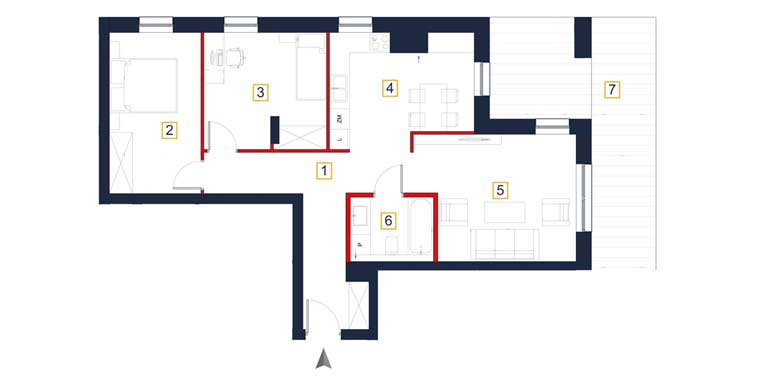 Mieszkanie – 3 pokoje – taras – 74,56 m<sup>2</sup> – Rzeszów
