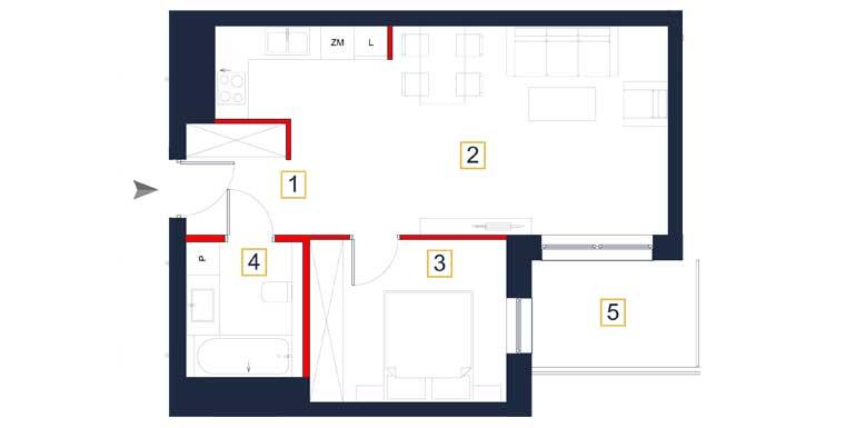 Mieszkanie – 2 pokoje – balkon – 47,47 m<sup>2</sup> – Rzeszów