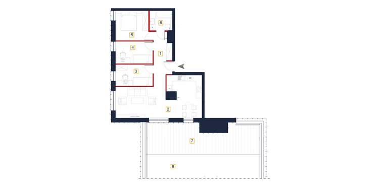 Mieszkanie &#8211; 4 pokoje &#8211; 2 x tarasy &#8211; 73,51 m<sup>2</sup> &#8211; Rzeszów