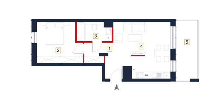 Mieszkanie &#8211; 2 pokoje &#8211; loggia &#8211; 48,57 m<sup>2</sup> &#8211; Rzeszów