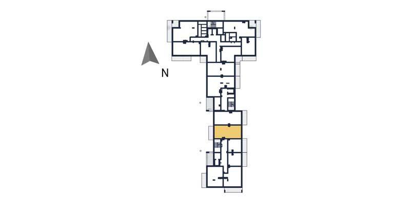 mieszkania na sprzedaż rzeszów - rzut kondygnacji z zaznaczonym mieszkaniem a102
