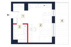 mieszkania na sprzedaż rzeszów - rzut mieszkania a104