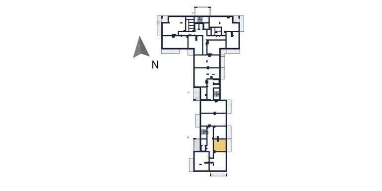 mieszkania na sprzedaż rzeszów - rzut kondygnacji z zaznaczonym mieszkaniem a104