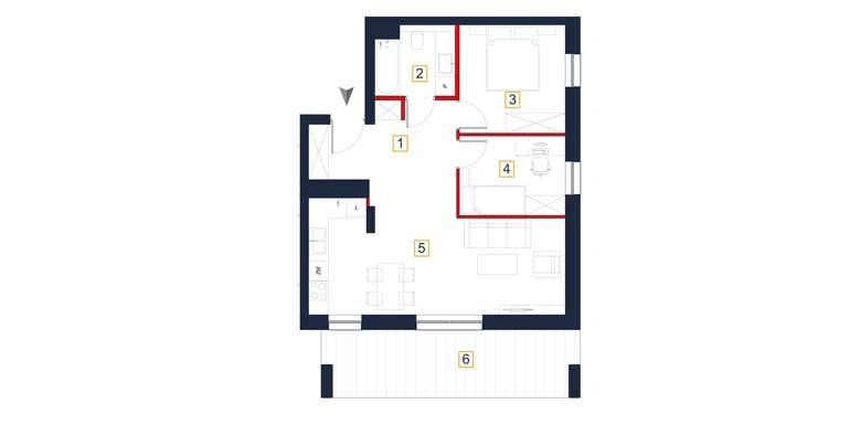 Mieszkanie – 3 pokoje – taras – 59,90 m<sup>2</sup> – Rzeszów