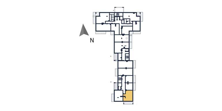 nowe mieszkania rzeszów - rzut kondygnacji z zaznaczonym mieszkaniem a105