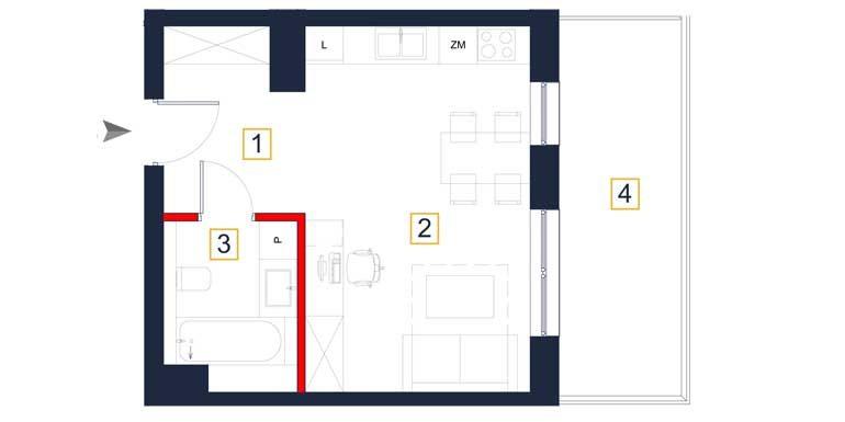 nowe mieszkania rzeszów - rzut mieszkania a109