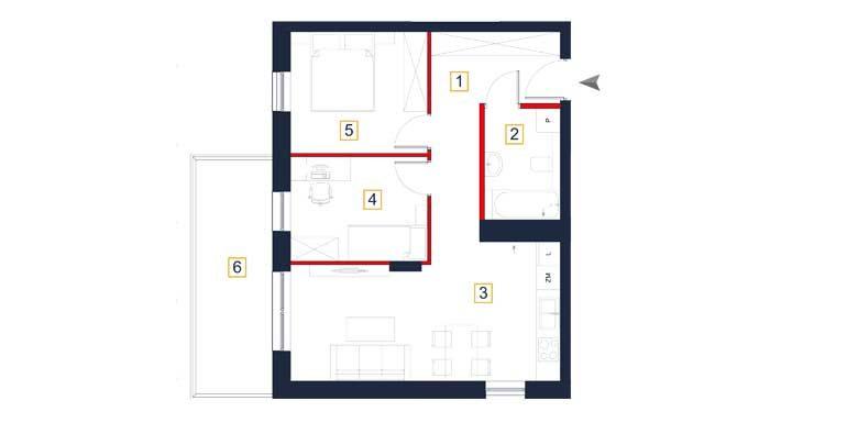 deweloperskie mieszkania rzeszów - rzut mieszkania a111