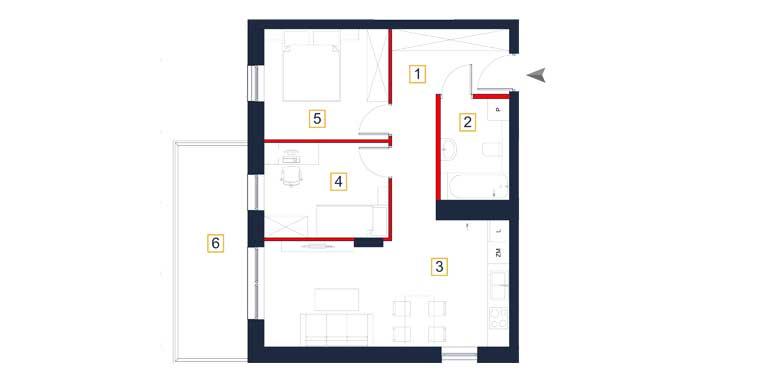 Mieszkanie &#8211; 3 pokoje &#8211; balkon &#8211; 57,39 m<sup>2</sup> &#8211; Rzeszów