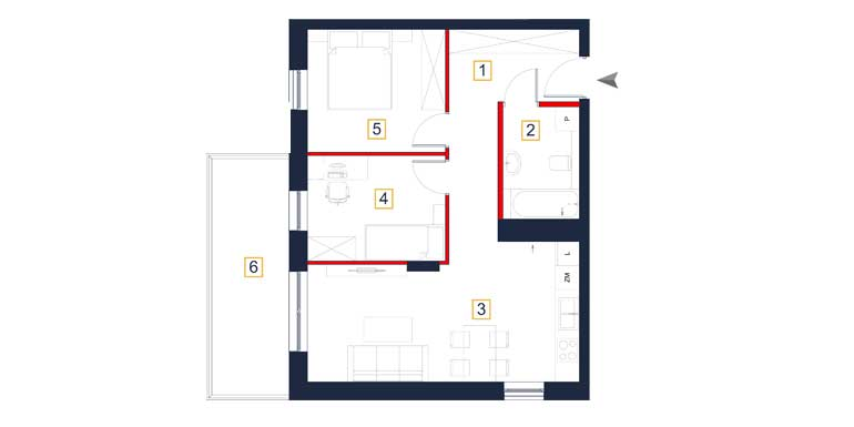 Mieszkanie – 3 pokoje – balkon – 55,78 m<sup>2</sup> – Rzeszów