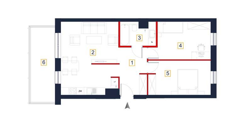 sprzedaż mieszkań rzeszów - rzut mieszkania  a117