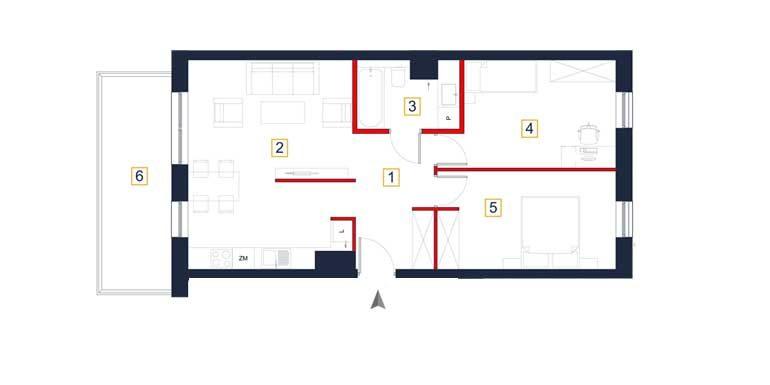 sprzedaż mieszkań rzeszów - rzut mieszkania  a122