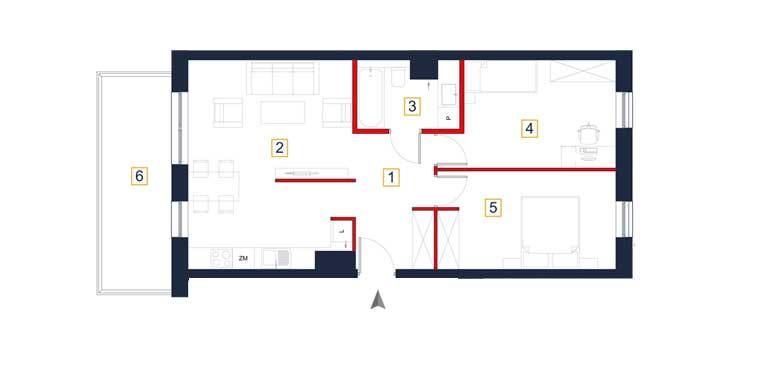 Mieszkanie – 3 pokoje – balkon – 66,24 m<sup>2</sup> – Rzeszów