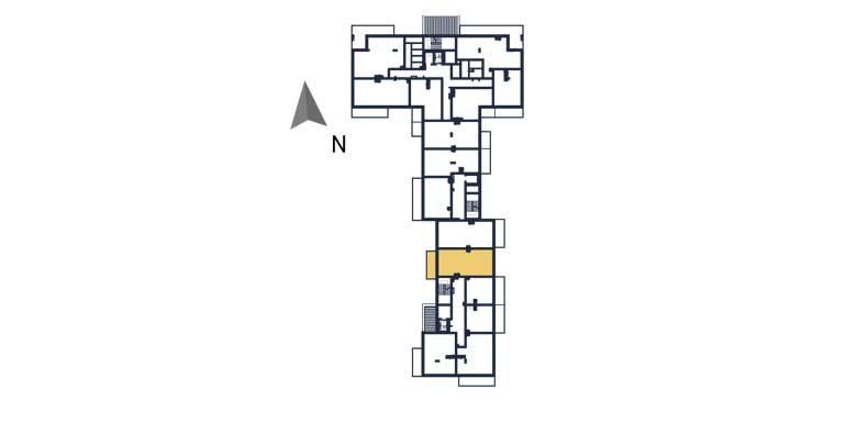 sprzedaż mieszkań rzeszów - rzut kondygnacji z zaznaczonym mieszkaniem  a122