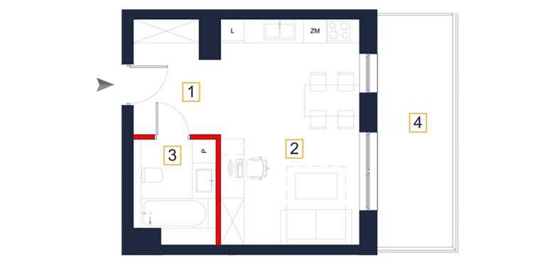 sprzedaż mieszkań rzeszów - rzut mieszkania  a124