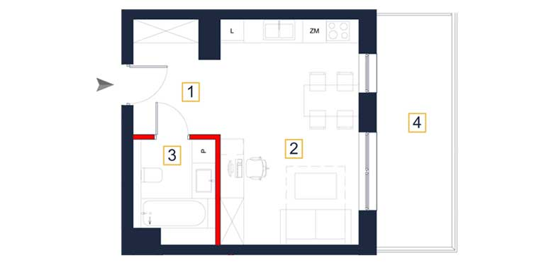 Mieszkanie – 1 pokój – balkon – 31,94 m<sup>2</sup> – Rzeszów