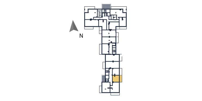 sprzedaż mieszkań rzeszów - rzut kondygnacji z zaznaczonym mieszkaniem  a124