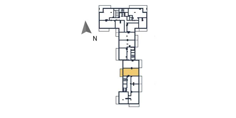 sprzedaż mieszkań rzeszów - rzut kondygnacji z zaznaczonym mieszkaniem  a127