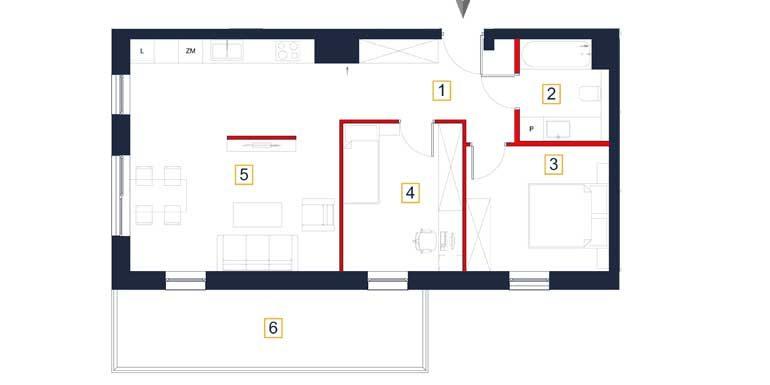 nowe mieszkania rzeszów - rzut mieszkania a13