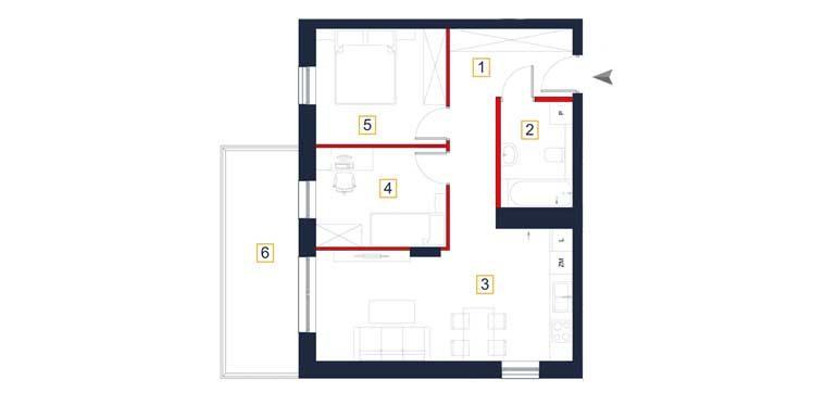 sprzedaż mieszkań rzeszów - rzut mieszkania  a131
