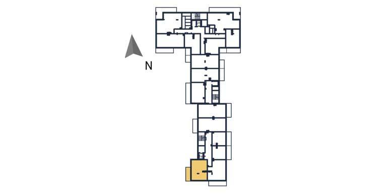 sprzedaż mieszkań rzeszów - rzut kondygnacji z zaznaczonym mieszkaniem  a131