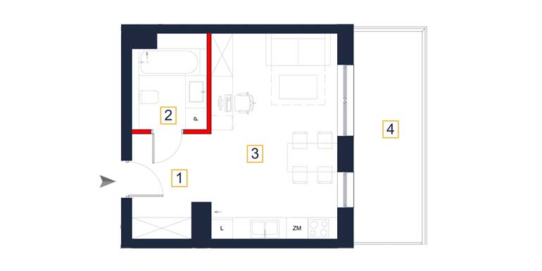 Mieszkanie &#8211; 1 pokój &#8211; balkon &#8211; 31,94 m<sup>2</sup> &#8211; Rzeszów