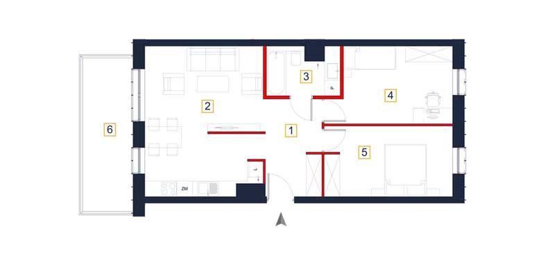 sprzedaż mieszkań rzeszów - rzut mieszkania  a137
