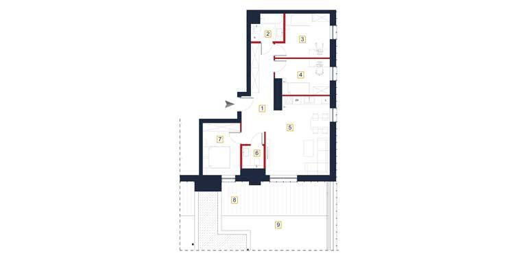 sprzedaż mieszkań rzeszów - rzut mieszkania  a138