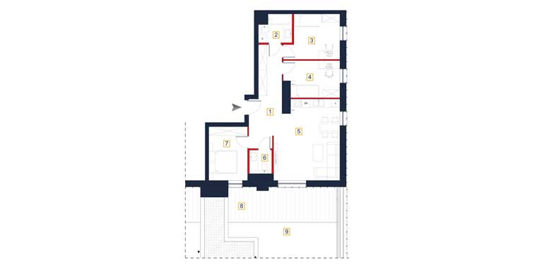 Mieszkanie &#8211; 4 pokoje &#8211; 2 tarasy &#8211; 78,93 m<sup>2</sup> &#8211; Rzeszów