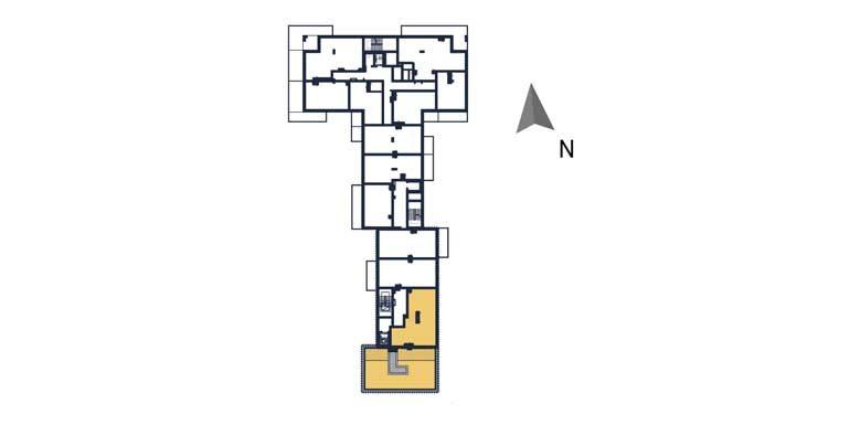 sprzedaż mieszkań rzeszów - rzut kondygnacji z zaznaczonym mieszkaniem  a138