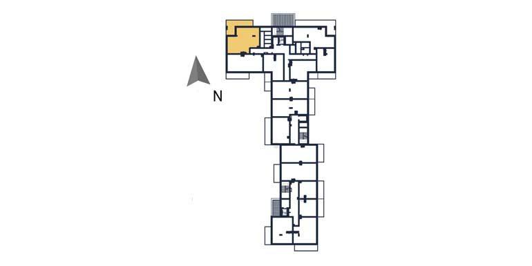 nowe mieszkania rzeszów - rzut kondygnacji z zaznaczonym mieszkaniem 14