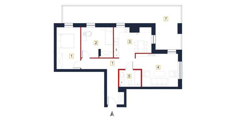 deweloperskie mieszkania rzeszów - rzut mieszkania a15