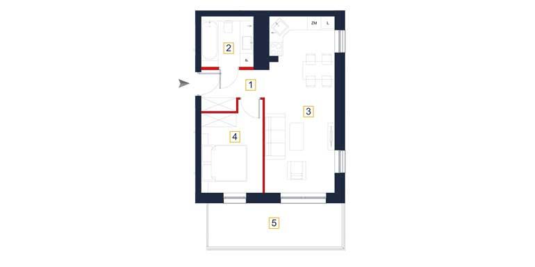 Mieszkanie &#8211; 2 pokoje &#8211; balkon &#8211; 43,32 m<sup>2</sup> &#8211; Rzeszów