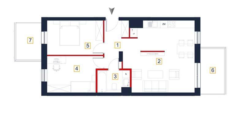 deweloperskie mieszkania rzeszów - rzut mieszkania a18