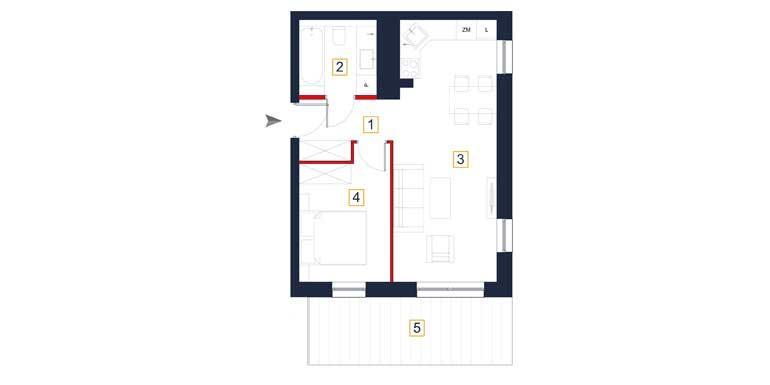 Mieszkanie – 2 pokoje – taras – 43,32 m<sup>2</sup> – Rzeszów