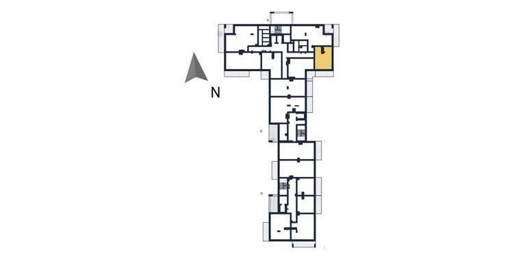 mieszkania na sprzedaż rzeszów - rzut kondygnacji z zaznaczonym mieszkaniem a2