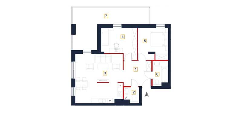 Mieszkanie – 3 pokoje – loggia – 76,54 m<sup>2</sup> – Rzeszów