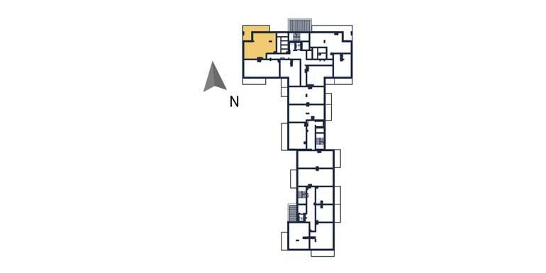 deweloperskie mieszkania rzeszów - rzut kondygnacji z zaznaczonym mieszkaniem a21