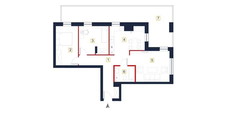 deweloperskie mieszkania rzeszów - rzut mieszkania  a22