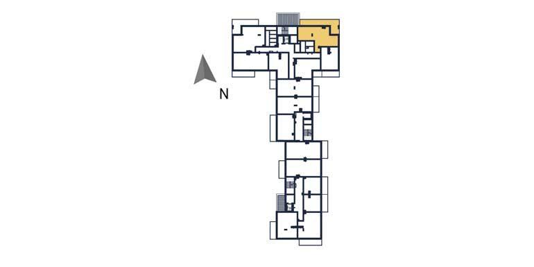 deweloperskie mieszkania rzeszów - rzut kondygnacji z zaznaczonym mieszkaniem  a22