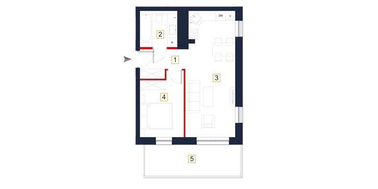 deweloperskie mieszkania rzeszów - rzut mieszkania  a23