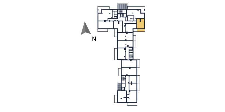 deweloperskie mieszkania rzeszów - rzut kondygnacji z zaznaczonym mieszkaniem  a23