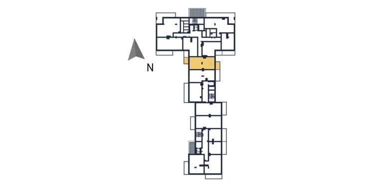 sprzedaż mieszkań rzeszów - rzut kondygnacji z zaznaczonym mieszkaniem  a32