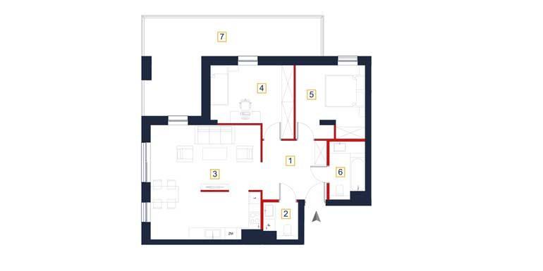sprzedaż mieszkań rzeszów - rzut mieszkania  a35-mieszkanie