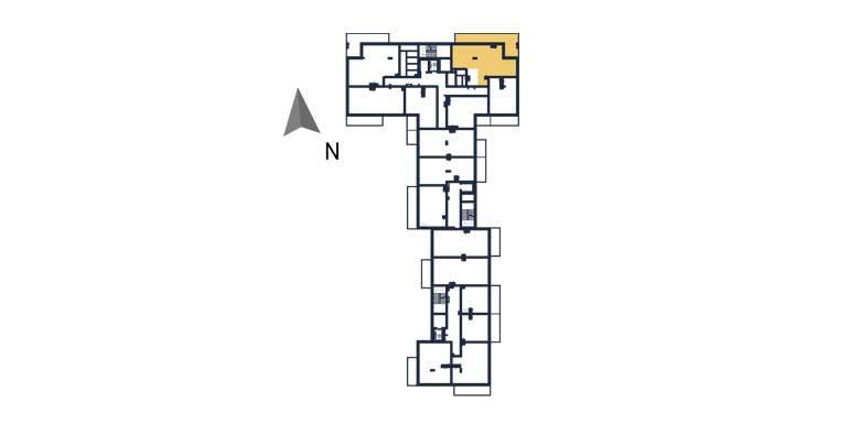 sprzedaż mieszkań rzeszów - rzut kondygnacji z zaznaczonym mieszkaniem  a36