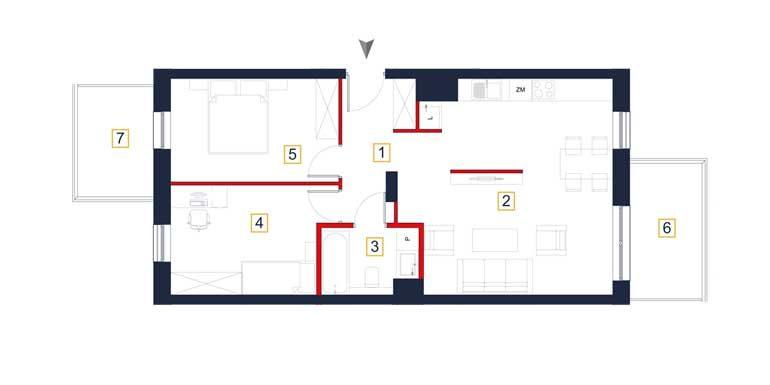 sprzedaż mieszkań rzeszów - rzut mieszkania  a39