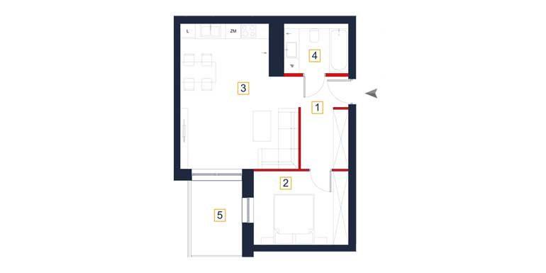 sprzedaż mieszkań rzeszów - rzut mieszkania  a40