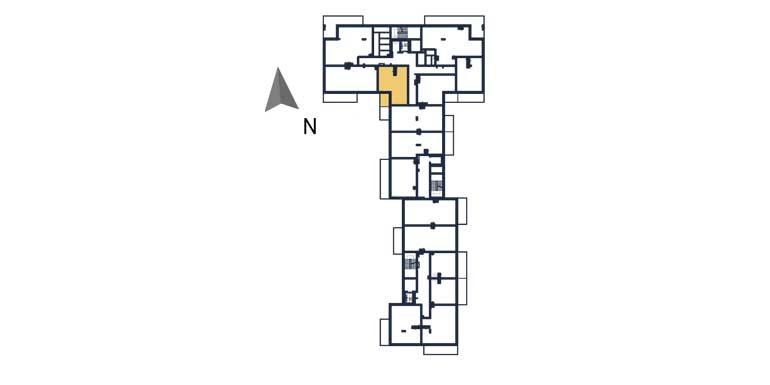 sprzedaż mieszkań rzeszów - rzut kondygnacji z zaznaczonym mieszkaniem  a40