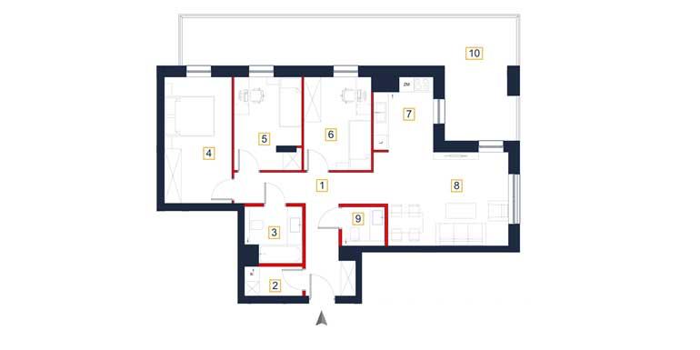 Mieszkanie – 4 pokoje – loggia – 85,02 m<sup>2</sup> – Rzeszów