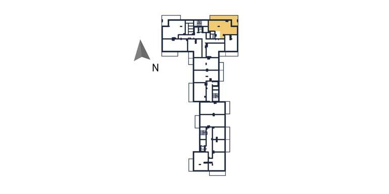 sprzedaż mieszkań rzeszów - rzut kondygnacji z zaznaczonym mieszkaniem  a43