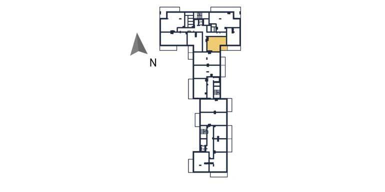sprzedaż mieszkań rzeszów - rzut kondygnacji z zaznaczonym mieszkaniem  a45